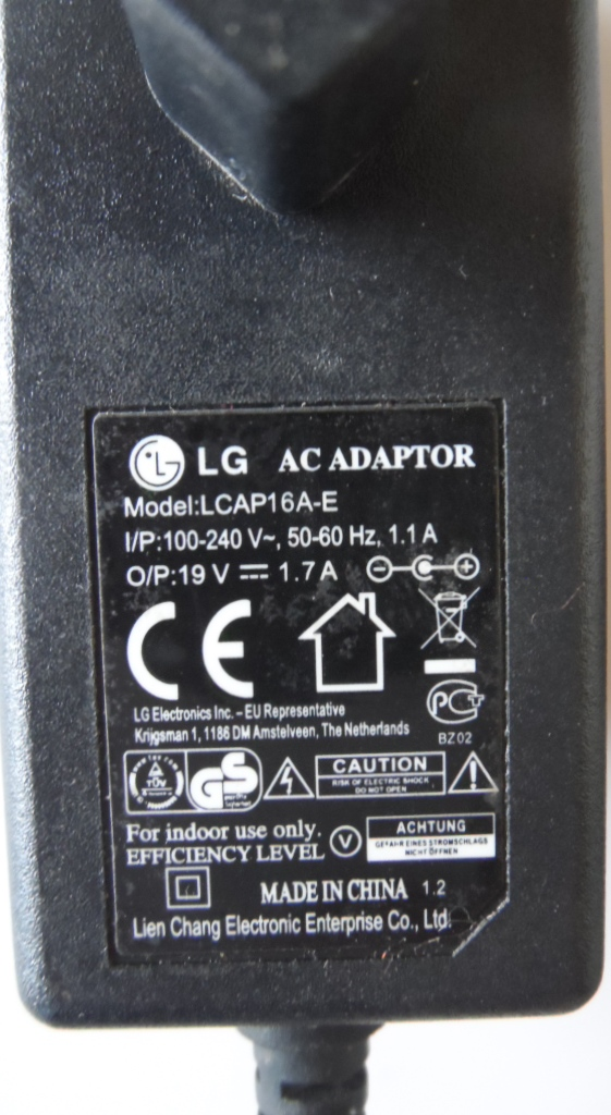 ADAP/LG/19V/1.7A ADAPTER ORIGINAL model LCAP16A-E  for LG 19V 1.7A
