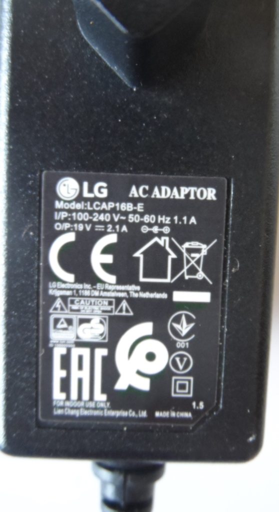 ADAP/LG/19V/2.1A/2 ADAPTER ORIGINAL model LCAP16B-E  for LG 19V 2.1A