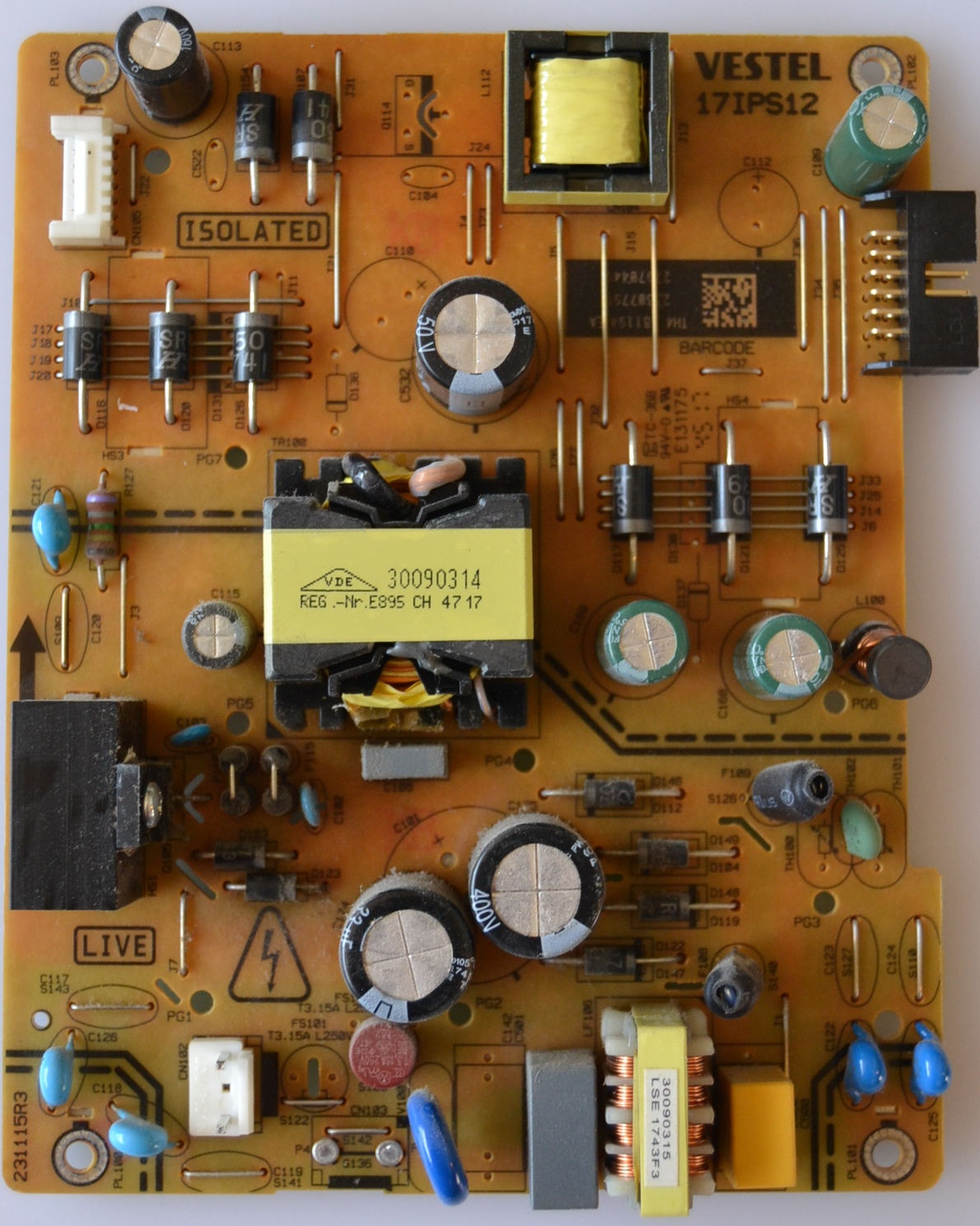 17IPS12/43INC/FINLUX POWER BOARD ,17IPS12, for 43 inc DISPLAY ,23307796,27970449,231115R3,