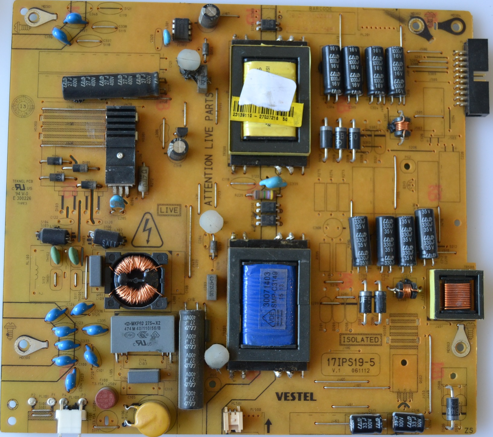 17IPS19-5/32INC/NEO/32165 POWER BOARD ,17IPS19-5,V.1 061112 for 32inc DISPLAY ,23139110,27037216,