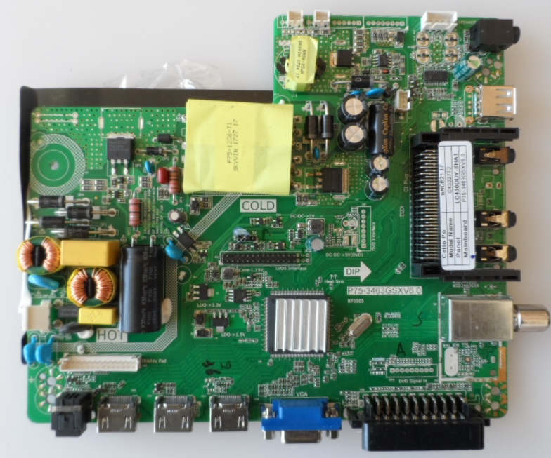 MB/ P75-3463GSXV6.0/CELLO/43INC MAIN BOARD, P75-3463GSXV6.0, for, CELLO,C43227T2